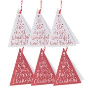 Vandoros - Embossed Triangular Red/White Gift Tag 6pk