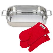 All-Clad - Stainless-Steel Lasagna Pan w/ Red Oven Mitts