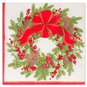 Caspari - Evergreen Wreath White Dinner Napkins 20pk