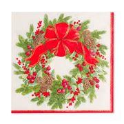 Caspari - Evergreen Wreath White Lunch Napkins 20pk