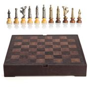 Italfama - Medieval Chessmen 8cm Leather Chessboard 40x40cm