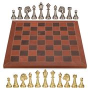 Italfama - Metal Chessmen 7cm Leather Chessboard 42x42cm