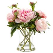 Florabelle - Peony Bouquet In Water In Glass Vase Pink