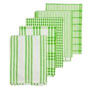 Rans - Milan Stripe & Check Bright Tea Towel Set 5pce Green