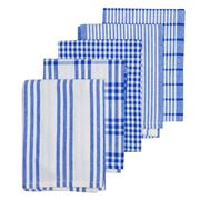 Rans - Milan Stripe & Check Bright Tea Towel Set 5pce Navy