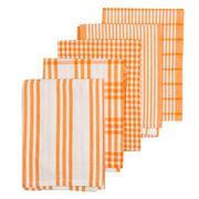 Rans - Milan Stripe & Check Bright Tea Towel Set 5pce Orange