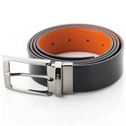 Fedon - U12 Double Face Calf Leather Belt Black/Orange