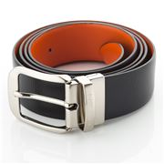 Fedon - U13 Double Face Bottalato Leather Belt Black/Orange