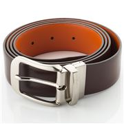 Fedon - U13 Double Face Bottalato Leather Belt Brown/Orange