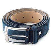 Fedon - Cintura-115 Scamosciato Leather Belt Blue