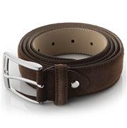 Fedon - Cintura-125 Scamosciato Leather Belt Dark Brown
