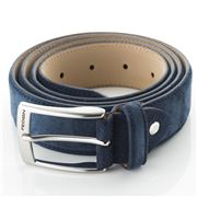 Fedon - Cintura-125 Scamosciato Leather Belt Dark Blue