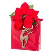 Boz Christmas - Glitz Gold Reindeer On Red Poinsettia Bag