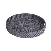 Rattan - Blackwash Round Tray Small