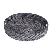 Rattan - Blackwash Round Tray Medium