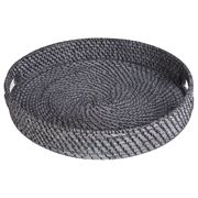 Rattan - Blackwash Round Tray Large