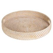 Rattan - Whitewash Round Tray Large