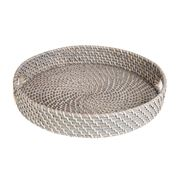 Rattan - Greywash Round Tray Small