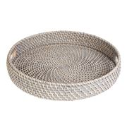 Rattan - Greywash Round Tray Medium
