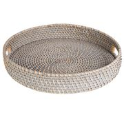 Rattan - Greywash Round Tray Large
