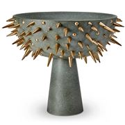 L'objet - Celestial Bowl On Stand Green & Gold X-Large