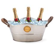 OneWorld - Nickel Wine Tub w/ Leather Handles