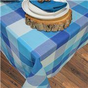 Rans - Dobby Check Tablecloth Aqua 150x230cm