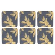 Portmeirion - Sara Miller Leaves Coasters Set Navy 6pce