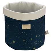 Nobodinoz - Panda Basket Large Gold Stella/Night Blue