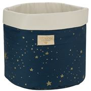 Nobodinoz - Panda Basket Small Gold Stella/Night Blue