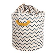 Nobodinoz - Baobab Toy Bag Large Zig Zag Blue