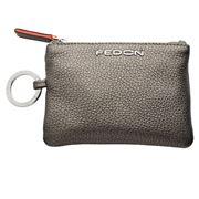 Fedon - Amelia Zipped Key Case Bottalato Metallic Beige