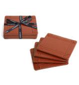 Cinnamon - Faux Stitch Leather Coaster Set Tan