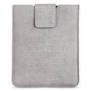 Graphic Image - Grey Croc Nubuck Leather iPad Sleeve w/Clasp