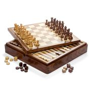 Italfama - Wooden Magnetic Chess Checkers & Backgammon Set