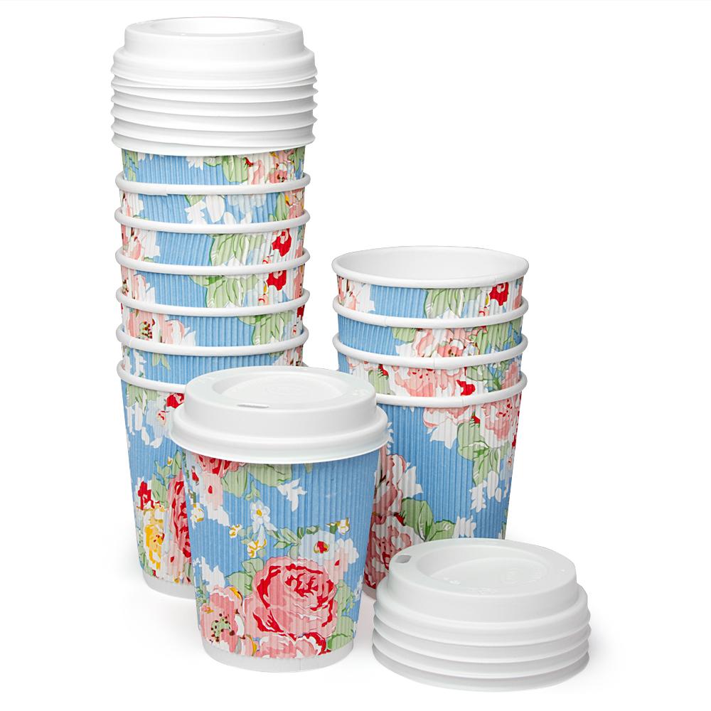 Robert Gordon Barista Paper Cup Set With Lids 12pce Floral