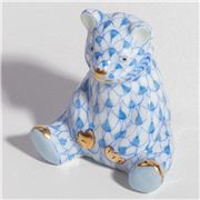 Herend - Baby Bear Sitting Ornament Miniature Blue