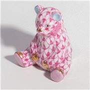 Herend - Baby Bear Sitting Ornament Miniature Raspberry
