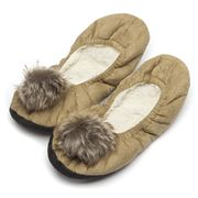Annabel Trends - Pompom Coffee Ballet Slippers S-M