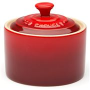 Le Creuset - Cerise Red Stoneware Sugar Bowl with Lid