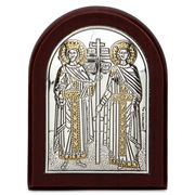 Clarte Icon - Silver Axion St Constantine & Helen with Gold