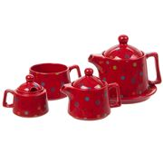Yedi - Stackable Polka Dot Red Tea Service For One