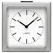 Leff - Block Stainless Steel White Index Alarm Clock