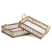 OneWorld - Whitewash Wood Rattan Tray Set 2pce