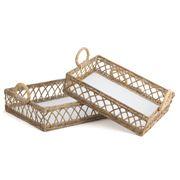 OneWorld - Whitewash Wood Rattan Tray Set 2pce