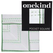 Onekind - Double Stitch Green Pocket Square
