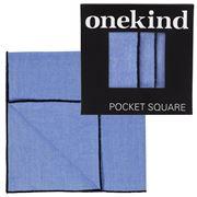 Onekind - Chambray Black Stitch Pocket Square
