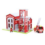 Bigjigs - Fire Station & Engine Play Set