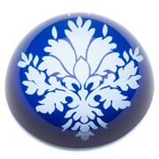 Art In Motion - Indigo Damask Blue Paperweight