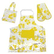 Florence Broadhurst - Spotted Floral Mustard Kitchen Set 3pc